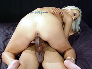 Yummy blond fucks monster black and eats cum