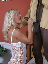 blonde slut, interracial assfucking, and cumeating