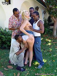 Blond interracial gangbang anal DP and cumplay