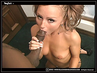 Tiny blond fucks and sucks 2 monster black dicks