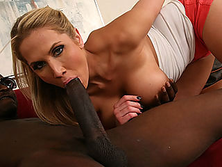 Busty blonde breaks up a black couple