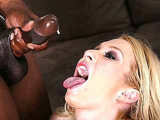 A horny blonde interviews and gets fucked by several black cocks