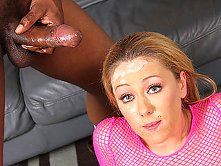 Hot blond slut does interracial gangbang 4-on-1