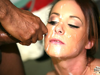 Sexy white girl cheers only for multiple black cocks in her mouth and snatch