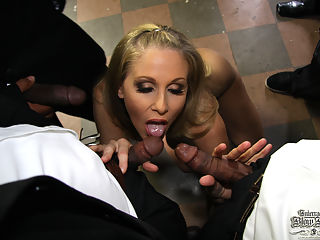 The legendary Julia Ann gets nasty with 8 feet of black cock in her mouth