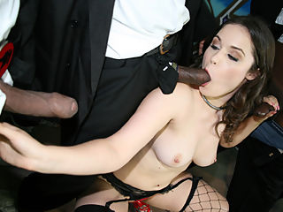 Sexy white girls gets felt up and jabbed with multiple black cocks
