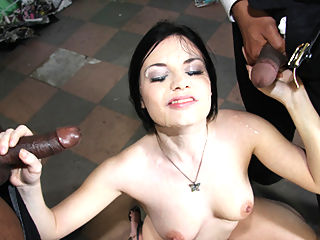 Stunning white girl gets extremely nasty by sucking on 8 big black dicks