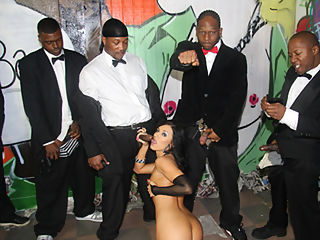 8 lengthy black men have their way with Ashli Orion in these interracial clips