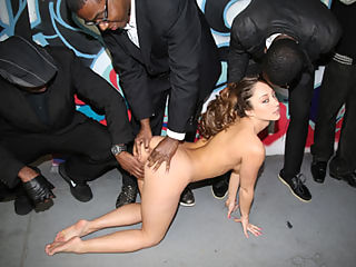 Remy LaCroix gets blowbanged by tons of angry black guys
