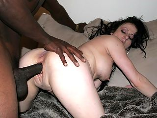 Horny blonde in hardcore interracial action.