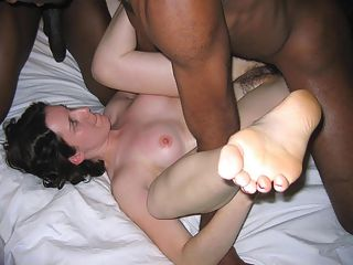 Fat whore throats black cock.