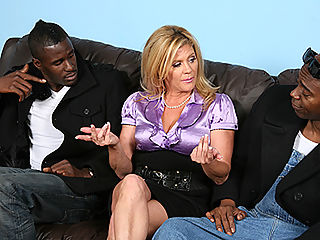 Cougar Mom fucks sucks black dick makes son watch