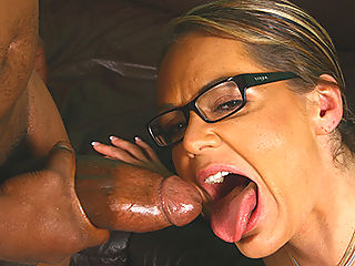 Cougar MILF makes son watch interracial fuck and BJ
