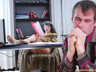 Old Camilla is known as a very strict boss, so Thomas isnt going to get away with his poorly done report. She will neither sign nor look at it unless he does her a favor. The nasty mature lady hikes up her straight office skirt and lets the boy know what she means. She pushes his head down going through his report while he tongues her burning hole. Now he has to use his dick too and do it really well if he wants the papers to be signed at last.