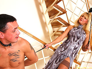 Its not everyday that a woman can play bossy, thats why mature blonde Nicole makes the most of her lucky chance. Today young Tom is her obedient sub ready to follow her on a leash. See him worshipping and pleasing his older mistress getting punished whenever he fails to lick her tits or eat her pussy well enough. The boy has to undergo even worse humiliation getting gagged with the moms thong before he can use his aching for action boner.