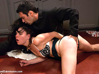 Cheating Wife Tossed Around and Fucked in the Ass Juliette March and Tommy Pistol : A cheating wife gets a lot more than she bargains for from the locate handyman. She gets roughhoused and tossed around like a rag doll, face fucked and ass fucked in bondage.