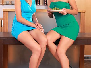Tania and Julliete - Eating Out - Hot housewifes eat each other out