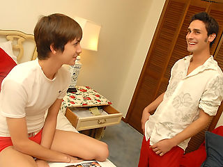 Hott boy oliver decides to see if his room mate is gay in these hot first time and cum shot vids