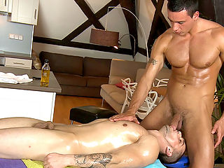 After Fernando coats Milos body with oil he gets right to work, and before we know it he has it dick in Milos throat. Fernando makes sure he massages all of Milos inside and out.