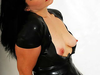 I feel so horny in this black latex dress