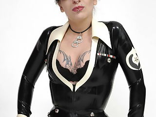 Russian Mistress fucks in tight black latex
