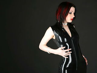 Tight fit black latex dress