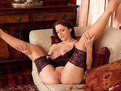 Stunning lingerie model explores her own limits when she discards her bra and panties to masturbate her sweet pussy on video for the very first time