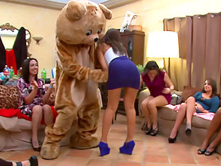 These horny girls are about to go fuck crazy for the dancing bear!