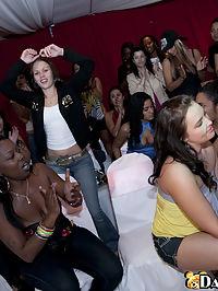 Young brunette sucks cock in front of her friends