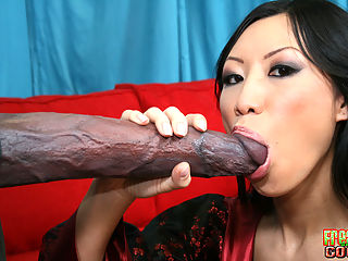 Tia sucks off a huge black cock