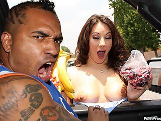 Hot brunette girl gets covered with OG man juice!