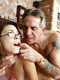 Young slut volunteers her tight pussy down at the old perverts retirement home