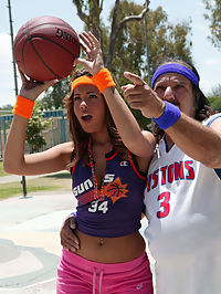 Isis plays ball with Ron Jeremy in the bedroom.