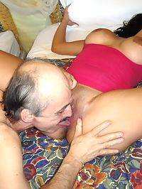 Old geezer having fun with a stupid young slut