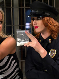 MILF prostitute punished and Dpd by smoking hot redhead rookie cop! : In this roleplay update sexy redhead Elle Alexander plays a rookie cop who busts known sexy MILF prostitute Simone Sonay for hiding drugs in her cunt! Elle is looking for the perfect bust to show all the other male pig cops she can play with the big boys too but also has a penchant for sexy MILF prostitutes and making them worship and entertain her hot body! Elle uses this to her advantage and whips and spanks the sexy MILF, finger banging her to orgasm. She canes her leaving wicked stripes on her thighs and ass and sits on Simones face cumming all over her. Elle fist fucks Simone then double penetrates her showing this hooker whos boss!