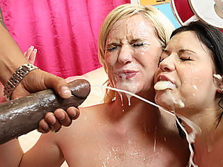 Hot blonde whore gets help from girlfriend to keep her spread open for 14 inch black cock