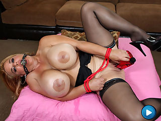 Crystal Storm masturbated with a giant dildo and play with her GIANT boobs!