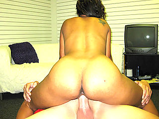 Nasty black slut fucks hard white cock at pimp party