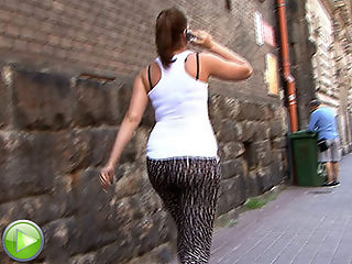 Dumb slut with a big ass gets sharked on the street