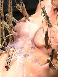 Cherry Torn gets Felonyd! : Finally we get Felony and Cherry Torn together and it is nothing less than intense! Felony, demanding as always expects even more from Cherry as do we. Cherry has her feet and legs chained to a wall and her hands handcuffed behind her. Felony spanks her ass to bright red, pours burning hot candle wax all over Cherrys writhing body then canes it all off including her pussy! Cherry is made to lick Felonys wet pussy and its obvious just how hungry for pussy Cherry is! Shes put in predicament bondage made to balance herself up or else painful clothespins will be ripped from her flesh. Shes given uncontrollable multiple orgasms in this position until each pin is pulled from her body. Shes made to lick clean Felonys delicious asshole and gets covered in Felonys squirting pussy juice. Last but not least she is bound like a pet and leashed around the room then strap-on fucked deep in both her hungry holes! This powerful update is not to be missed!