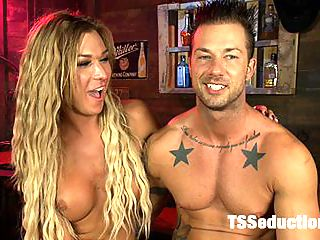 BRAND NEW TOP TALENT - Sexy, toned, tanned and hung - AUBREY KATE : Introducing Aubrey Kate to TsSeduction.com. Aubrey is a smoking hot blonde, tanned, blue eyed hot babe, with a toned body and a rock hard cock who seduces a cowboy stud and fucks him over his own cowhide bench! Aubrey even shows off a little of her two stepping talents before getting it on with Rod. Shes a bundle of surprises - all good ones - and her debut her is a hit.