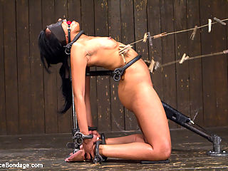 Orlando vs Yasmine de Leon : The theme of the bondage today is simple but brutal. Cable tie bondage in a cold metal cage, harsh back bend in the metal bilbos set, and knees to floor pile driver with wood half stocks are what Yasmine has to look forward to. In every position, Orlando knows just how to push her buttons, slice pain into her flesh with inescapable agony, and well pleasure in her body like nothing shes ever experienced...