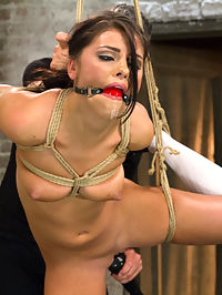 Fresh Young Pretty Girl Destroyed by Bondage and Orgasms : Gorgeous, young and willing are the three best adjectives for this little piece of fresh meat, Adriana Chechik. Her pretty face is striking - thick brunette hair frames a round, olive toned face and penetrating, deep blue eyes with a gaze that falls right about at my crotch. She is hungry, horny and eager. I smile.I tie her elbows tight behind her back, then wrap the rough rope around her pretty, slutty thighs and push her to the floor. I shove her face down, ass up, and rip at those silky little panties. The air hits her skin and I can smell her moist cunt. I hold out the rubber cock and tell her to get it. So amusing to watch her struggle against the rope to get that fat cock in her horny little pussy. If she is a good girl, she cums. If not, well, there is always scene two.The gag cuts hard into her face, stuffing her hot fucking mouth with a lewd red rubber ball. I add rope after rope, jacking her thighs apart and jamming the vibe tight against her swollen, deprived clit. She is drooling all over herself, making a fucking mess, squirming, moaning and I could just swear I heard a whimper in there. I laugh and take the other leg away, leaving her spinning in the air with a throbbing, horny pussy all to herself. Poor thing.Lets get a closer look at this cunt. I jack her legs over her head and spread that twat like cheap frosting. The clit vibe gets her so close, but she just cant seem to get over the edge completely. I watch her struggle with her orgasms for a while, alternating between the clit vibe and slapping the fuck out of her naughty pussy. She is so scared of the pain that she practically pees herself in anticipation of the strikes. When I finally get her off, she squirts so much come all over me and my crew that we have to shower off afterwards. Good job tramp - you are now a HogTied rope slut.