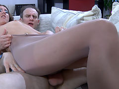 Madeleine and Peter B perverted pantyhose job video : Peter B. had soft nylon pantyhose all over his face, hands and dick, when his nylon clad girlfriend went to give him a very enjoyable pantyhosejob. Later they switched to a sixty-nine mode, so the guy could taste Madeleines smooth nyloned beaver and later get a cool pantyhose legjob too. Finally, the long-legged chick rode his boner in a reverse cowgirl style just slightly lowering her barely visible pantyhose.