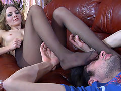 Judith and Gerhard having nylon footsex : Judith teased her kinky boyfriend Gerhard with her tasty pantyhosed legs and soon he was tenderly massaging her soles and toes. The guy could pop a boner after one look at her luring nylon covered feet, so he let her slide her sleek feet into his jeans and tease his cock. Later the babe had to give head to Gerhard and jump on top of him keeping her nyloned feet on his shoulders.