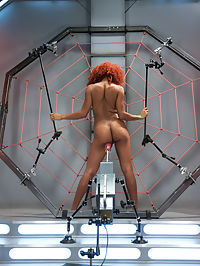 Spider Web of Machines, Tit Suction Breath Play Nipple Clamps and Big Os : Daisy climbs right into or web and spreads herself for the machines. Tit clamps, The Goat Milkers on her tits two vibrators locked into place and The Shockspot planted between her long legs, set Daisy up for her first orgasm of many with the mechanical cock driving her pussy to climax. We love Daisy, we love her long legs and dark skin and wild red hair but most of all we love her incredible pussy power. Her orgasms are long and intense and she doesnt shy away from the big toys either. Shes definitely worth catching in our giant sex web and we make the most of every inch of Daisy Ducati.