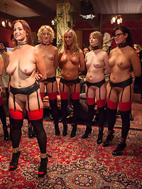 Masquerade Orgy with Nine Slaves,100 Horny Guests, Part One : The Pussy Platoon is in full on the Upper Floor for this once a year blow-out slave review orgy. When nine trained Upper Floor slaves stand at attention, waiting to be inspected by the Steward and Mr. Acworth, the room stands still with anticipation until the order is given - Get the Dicks Hard! and they are off into the crowd like a bunch of cock starved sluts, getting a room of over 100 guests turned on and ready to indulge in the nights salacious festivities.The pig is roasted and presented, the slaves are reviewed, and the guests are turned on - Let the Orgy Begin! Slaves are fucked in all positions, assholes reamed, throats destroyed, tits pillaged and libidos stroked! I cant even keep up with all the action in this outrageous two camera shoot. Just dive in and enjoy the Upper Floor Orgy.