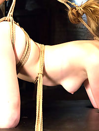 Horny 18 Year Old Slut Teased and Orgasmed in Tight Rope! : She is hot for the bondage and pussy play but she is super sensitive! So naturally the first thing to be done is to tie a vibrator on high, tight against her throbbing and swollen clit. She is tied up so tight that she cant possibly get away from it no matter how much she squirms and squeals.I decide to get her tight little cunt up front and center with her knees tied around her ears. The tiny clit vibe and giant dick on a stick ravage her super sensitive cunt till she is squirting uncontrollably and begging for mercy.She likes it doggie style. So I give it to her. She is tied like a little puppy girl, her back made to arch by tight ropes that push her now swollen and tender cunt into the air for us to fuck with a hard rubber dick till she gushes her squirt all over the floor.