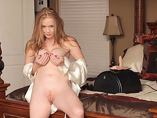 Copper haired mom with perfectly tempting tits goes for a ride on her sybian sex machine while the vibrating cock makes her tremble with orgasmic pleasure