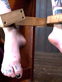 Diabolic Revelation : We start with Krysta in a predicament device, that reveals its sadistic nature in due time. She is standing with her pussy connected to her feet by a chain. Her petite body is revealed as her clothes are ripped away little by little. Her body is reddened from heavy hands and flogging, then the device shows this whore what its capable of. Scene two begins with her in a brutal back bend that stretches her lean body out. Her drenched pussy is exposed and begging for attention. That will come, but first I want her to scream scream so loudly that the entire castle can hear her. All of the sensitive spots are assaulted with multiple implements of torment.This whores pussy has been craving attention all day, so we put her on a little perch and fuck her cunt with omega. Her body starts to weaken and her mind starts to fade into that place that only girls that have been fucked into oblivion know about. The speed is increased more and more until this whore is a sloppy fucking mess.